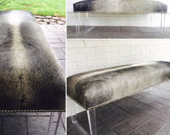 Cowhide Bench W/Lucite Legs