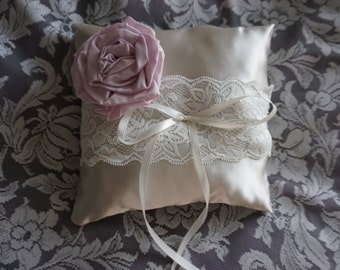 Satin and Lace Ring Bearers Pillow with flower for Wedding