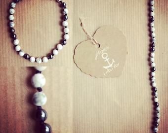 Discount gemstone bracelet white turquoise and Hematite