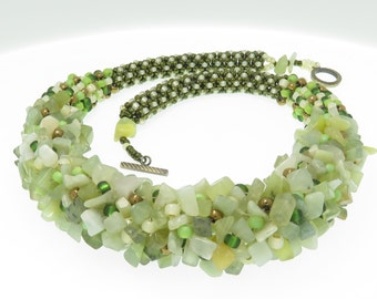 Green \ Cream Colored Rocks Fashionable Beaded Necklace Lanyard