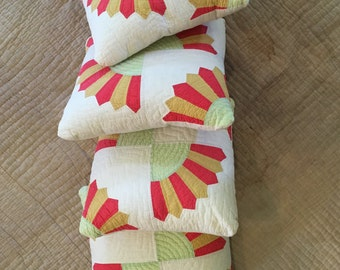 """Vintage 14"""" Hand-Stitched Quilt Pillows (4)"""