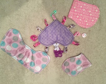 Baby Gift Set with Taggie toy and 3 burp cloths