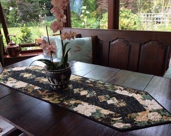 Black and Gold Quilted Patchwork Table Runner