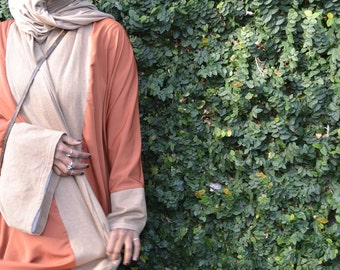 Kimono/abaya/ orange and light brown.