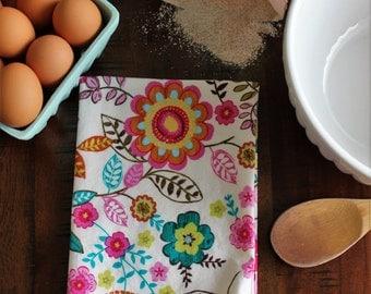 Dish Towel, Tea Towel, Kitchen Hand Towel in Bright Floral Print