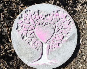 10 Inch Hand Painted  Concrete Heart Family Tree, Tree of Life Stepping Stone, Garden Stone, Plaque, Statue