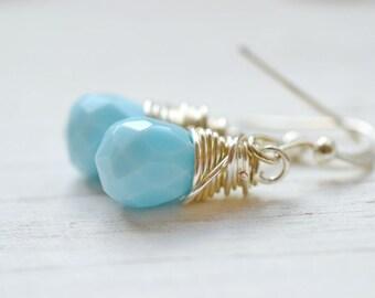 Simple Sky Blue Wire Wrapped Earrings, Boho Chic Jewelry, Opaque Milk Blue Teardrop Earrings, Bohemian Festival Earrings, Lotus and Bliss