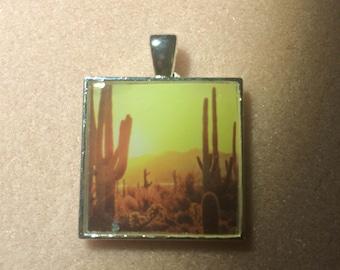 Saguaro Cactus Resin Pendant