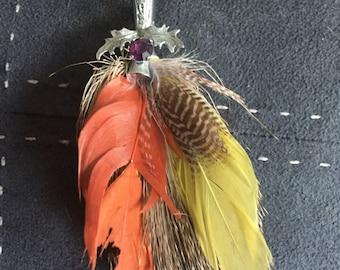 Stunning Scottish feather plume brooch/kilt pin