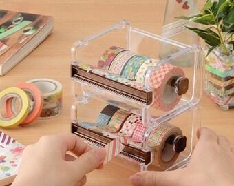 Washi Tape Dispenser Storage Case / Masking Tape Organizer / Tape Holder / Tape Cutt