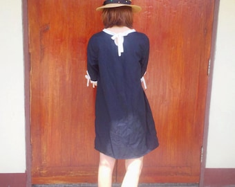 100%cotton dress Two tone with hand embroidered