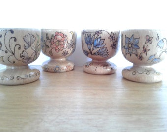 Floral egg cups x 4