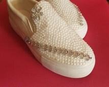 Bespoke hand designed wedding prom dance pumps
