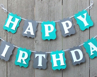 Happy Birthday banner, Birthday banner, Personalized name banner, Customized banner, Blue and Gray birthday banner, Happy Birthday sign