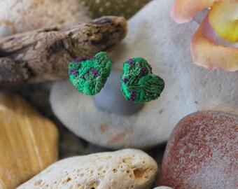Polymer Clay Earrings, Marijuana Purple Bud Earrings, Heart Bud Earrings, Weed Earrings, MaryJane Earrings, 420 Earrings, Stud Earrings