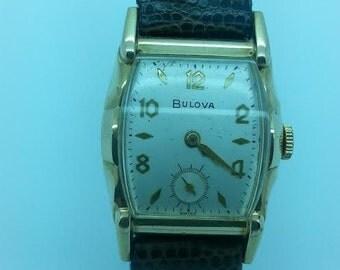 Vintage 1952-1953  Men's Bulova Watch 10kt Rolled Gold Tonneau Case