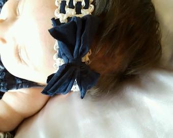 Navy Blue & Off White Headband