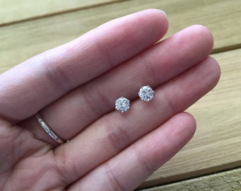 CZ Earrings | 4mm CZ Stud Earrings, CZ Stud Earrings, Small Earrings, Small Stud Earrings, Simple Earrings, Tiny Earrings, Bridesmaid Gift