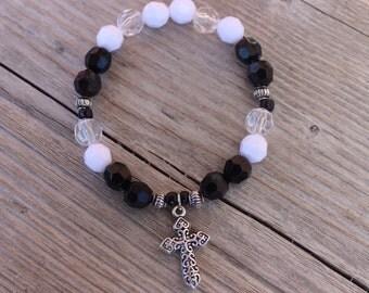 Elastic Cross Beaded Bracelet