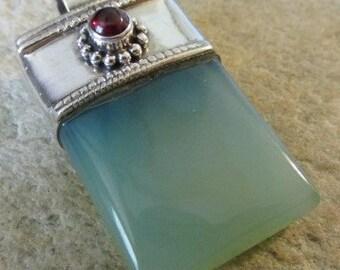 Blue Aqua Chalcedony & Garnet Sterling Silver Pendant - Unique