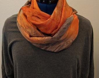 Orange and Gray Tie Dye - Infinity Scarf