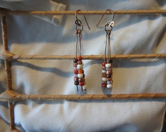 Hand-fired Copper and Beaded Earrings