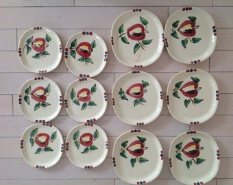 Set of 12 Purinton pottery plates