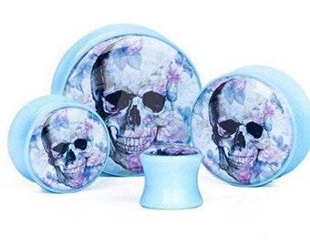 Pair of 30mm BabyBlue Floral Skull Plugs