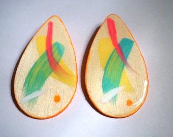 Hand Painted Wood Earrings. Wood Earrings. Handmade Earrings.