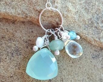 Aqua chalcedony cluster necklace