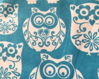 Owl Flannel Vintage Fabric -- Blue Owl Fabric