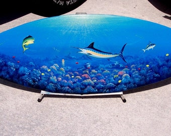 Marlin, handcrafted, hand painted Surfboard Wall Art