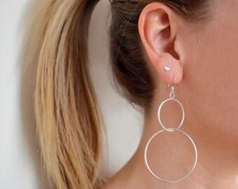 Sterling Silver Hoop Earrings | Double Hoop Earrings | Large Hoop Earrings