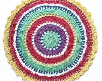Crochet Mandala Floor Rug, nursery floor mat, round doily rug, round blanket, crochet rug, girls room, MAKEFORGOOD, custom made
