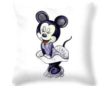 Mickey Mouse-Marilyn Monroe. Throw Pillow