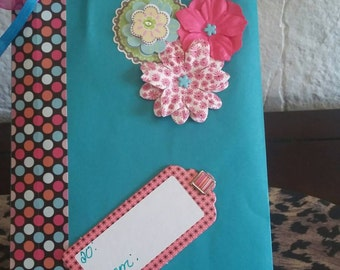 Gift bag,Torquise  Pink Flowers Gift Tag.