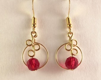 Circles & Twists: Gold and Red Earring Set