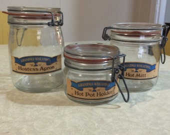 Set of three grandma wheatons canning jars