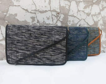 RATI Clutch with leather trim and detachable strap (in 4 colours)