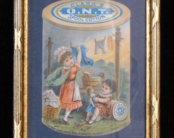 Victorian trade card-- Clark's Spool Cotton ad with children