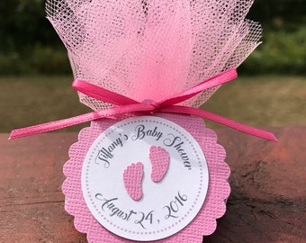 Baby Feet Favor Tag - Footprint Favor Tag - Pink White Baby Shower Tag - Girl Baby Shower Favor Tag - Pink Baby Shower Gift Tags