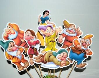 Disney Snow White Set of 8 Centerpiece Picks (Double-Sided)