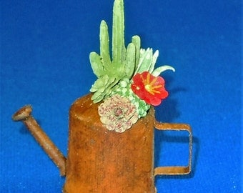 Dollhouse Miniature Cactus in watering can; twelfth scale; 1:12 scale.  Item #D102.  Dollhouse plant; Miniature Plant, Cactus, accessory.