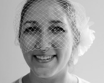 White Blusher Veil with vintage flower