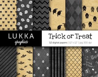 Halloween digital paper pack; Trick or Treat; ghost pattern, skull pattern, bat pattern, raven pattern, quatrefoil, argyle; black and gray