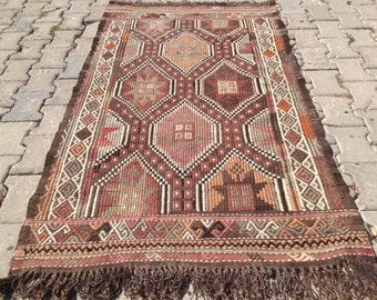 Turkish Kilim rug, Bohemian Rug, vintage rug, turkish Kilim, Turkish Rug, handwoven rugs, vintage kilim rug, Small Kilim Rug, Rugs 3x6