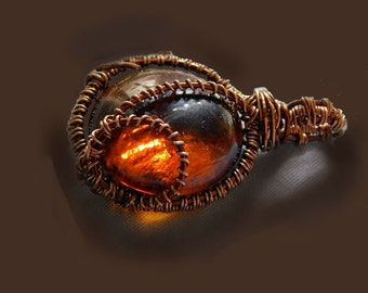 Pendant, brown glass,  jewelry, wire wrapping, handmade, cabochon