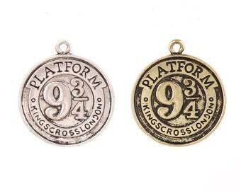 Platform 9 3/4 Harry Potter Inspired Pendant Hogwarts Charms Antique Sliver ,Antique Bronze