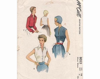 1950s McCall's 8053 Misses Blouse Vintage Pattern Size 18