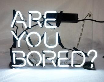 "Handmade 'Are You Bored' Wedding Sweet Art Sign Handmade Neon Sign 12""x8"""